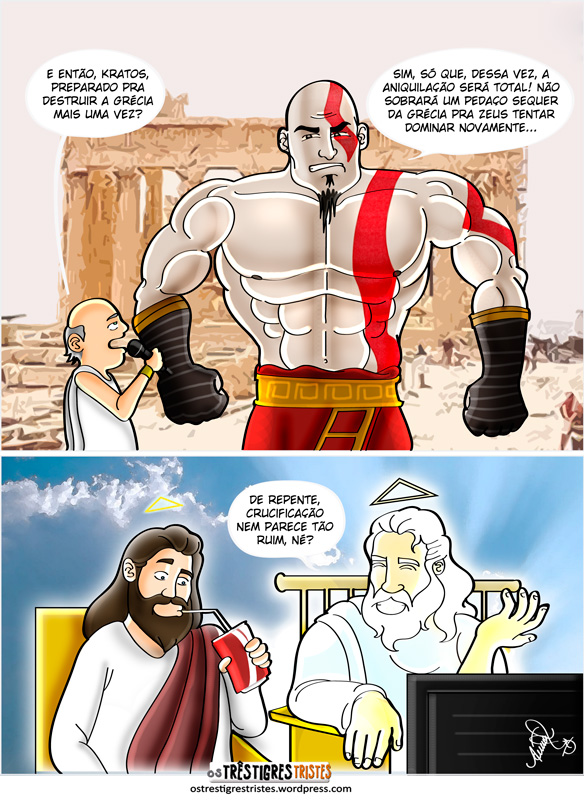 tirinha, kratos, god of war, deus, jesus