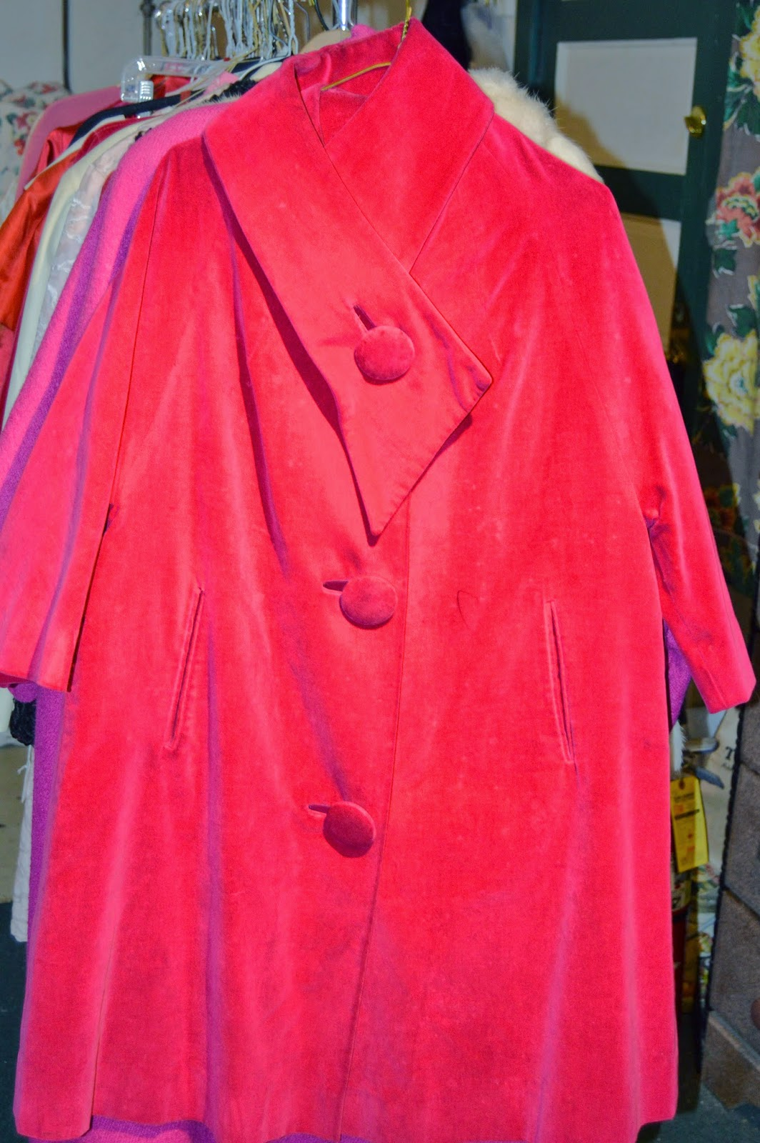 Hot Pink Velvet Swing Coat