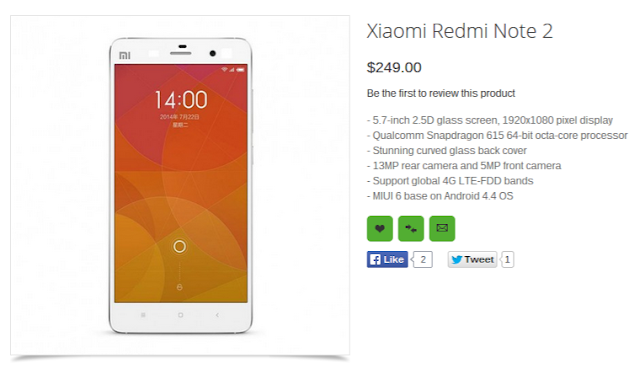 Xiaomi Redmi Note 2 800K Devices Sold in 12 Hours