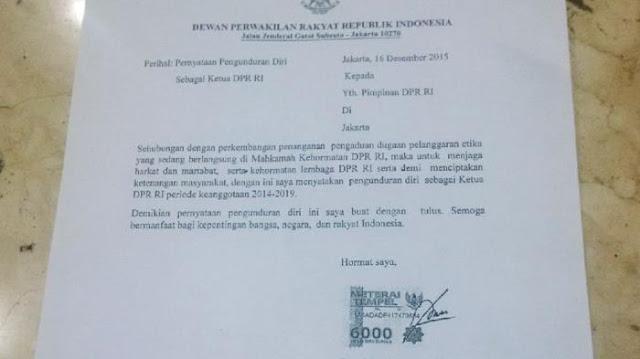 Ini Surat Lengkap Pengunduran Diri Ketua DPR RI Setya Novanto