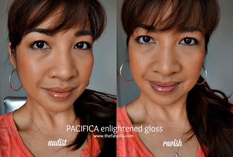 pacifica natural mineral enlightened gloss, review,swatch,nudist,ravish
