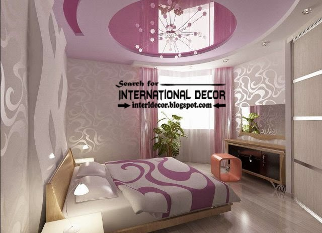 Suspended stretch ceiling for small bedroom, pink ceiling, bedroom stretch ceiling
