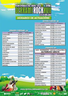 Horarios y planos de acceso para el Derrame Rock Festival