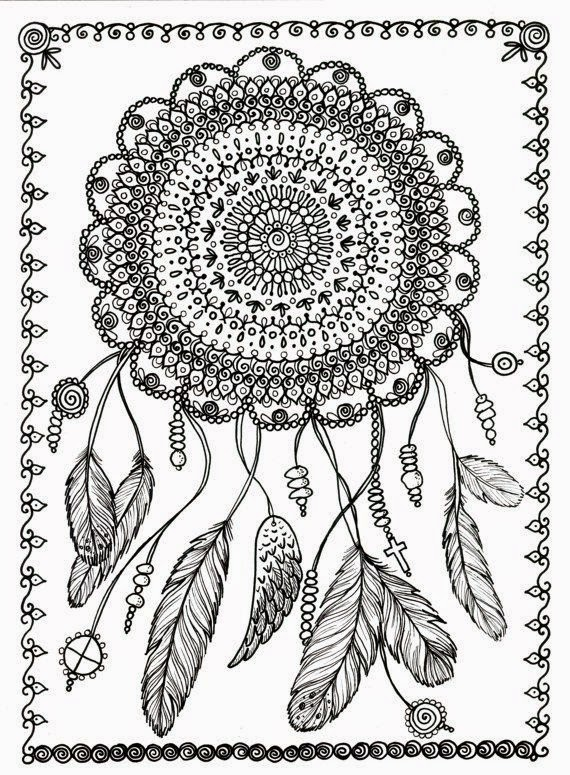 Punchy image inside printable adult coloring pages dream catchers