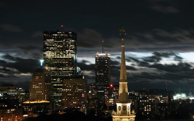 Massachusetts Boston at Night