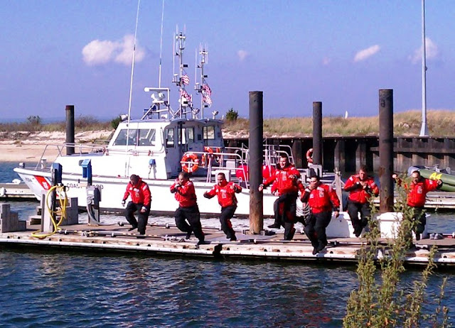 Regular and Reserve personnel at USCG Station Eatons Neck during cold weather immersion quals. USCG Aux photo by Bob Daraio