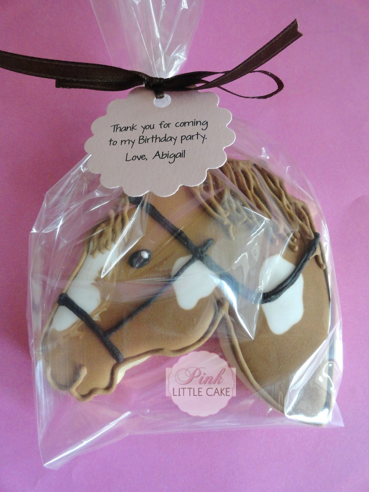 My Pink Little Cake Horse Cookie Favors for a Farm Theme Birthday