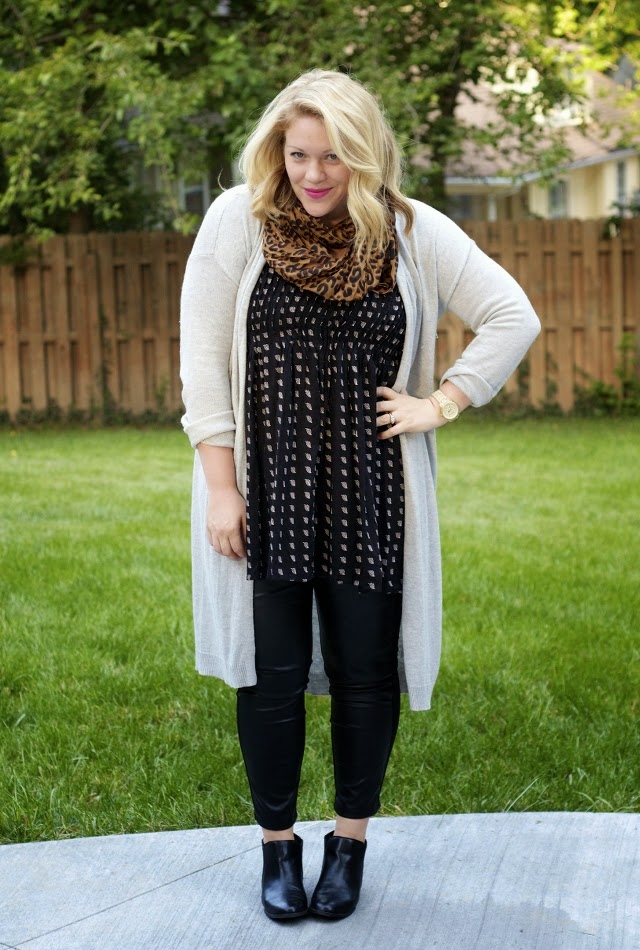 Faux-leather leggings under a summer dress for fall