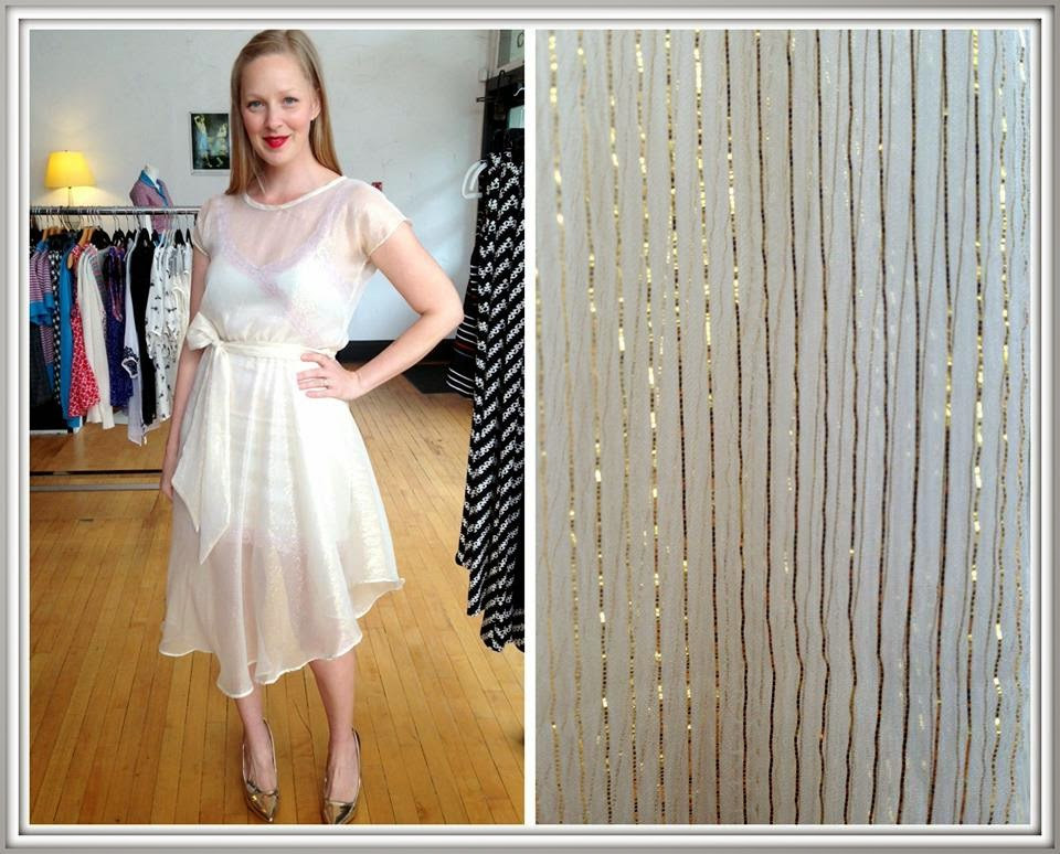 Nora by Sarah Bibb ($190) in ivory/gold, Ava slip ($65-$72) by Sarah Bibb
