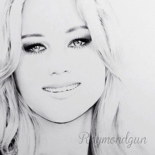 06-Jennifer-Lawrence-Raymond-Gunawan-Minimalist-Celebrity-Drawings-mostly-Black-and-White-www-designstack-co