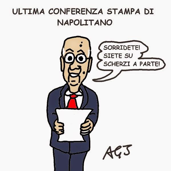 Napolitano, dimissioni, vignetta, satira