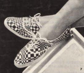 Op' Art 1966 shoes tennis canvas sneakers  60s 1960 mod black white Optical Prisunic