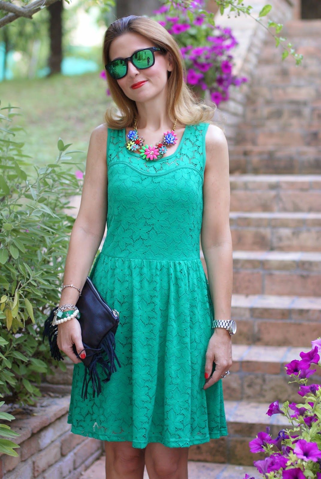Morgan de toi lace dress, bob hat, oakley green sunglasses, Fashion and Cookies, fashion blogger