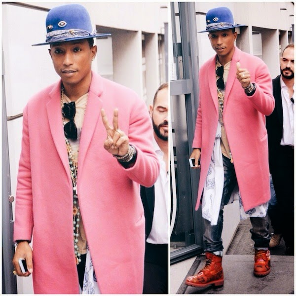 Pharrell Williams wears pink Celine Fall 2014 coat with blue Nick Fouquet hat in Paris 15th October 2014