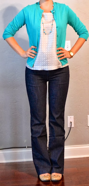 Mint sweater, polka dot blouse, jeans and shoes fashion for fall