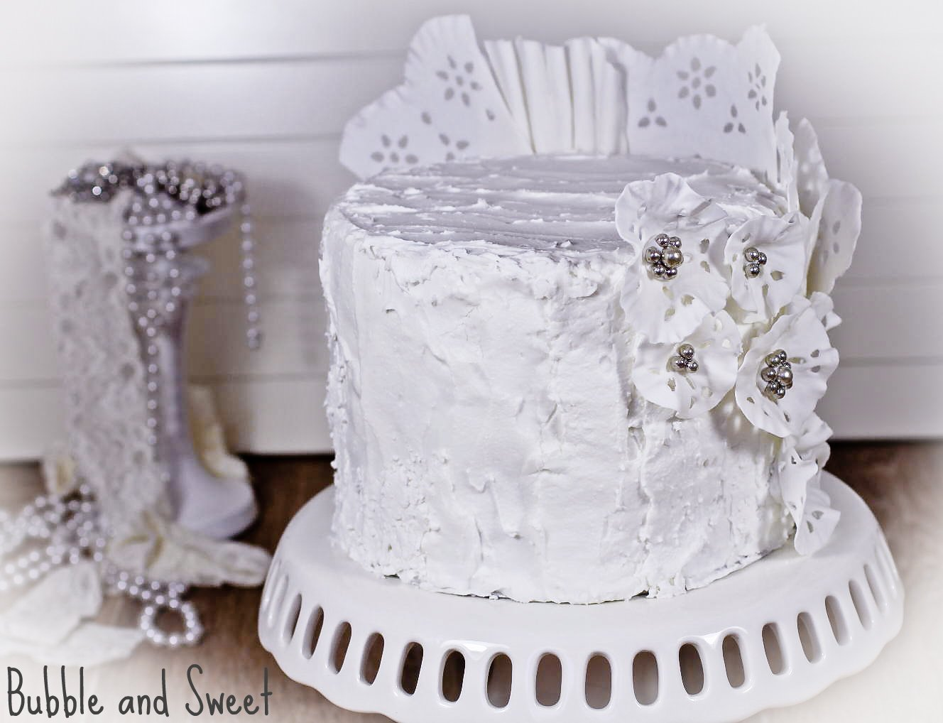 Bubble and Sweet Sweet Memories royal icing and lace cake