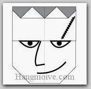 Bước 9: Vẽ mắt, mũi, miệng, sẹo để hoàn thành cách xếp mặt Frankentein bằng giấy theo phong cách origami.