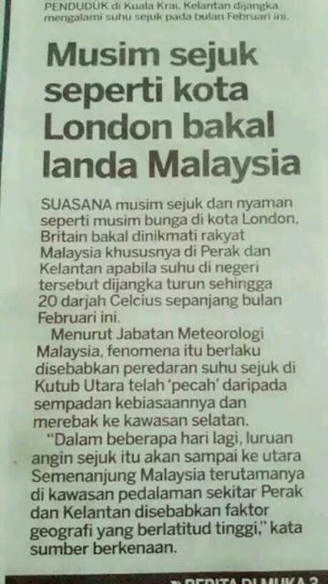 Cuaca Sejuk Seakan London Di Kelantan