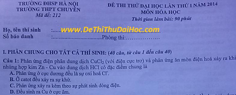 de thi thu dai hoc mon hoa 2014 chuyen su pham ha noi