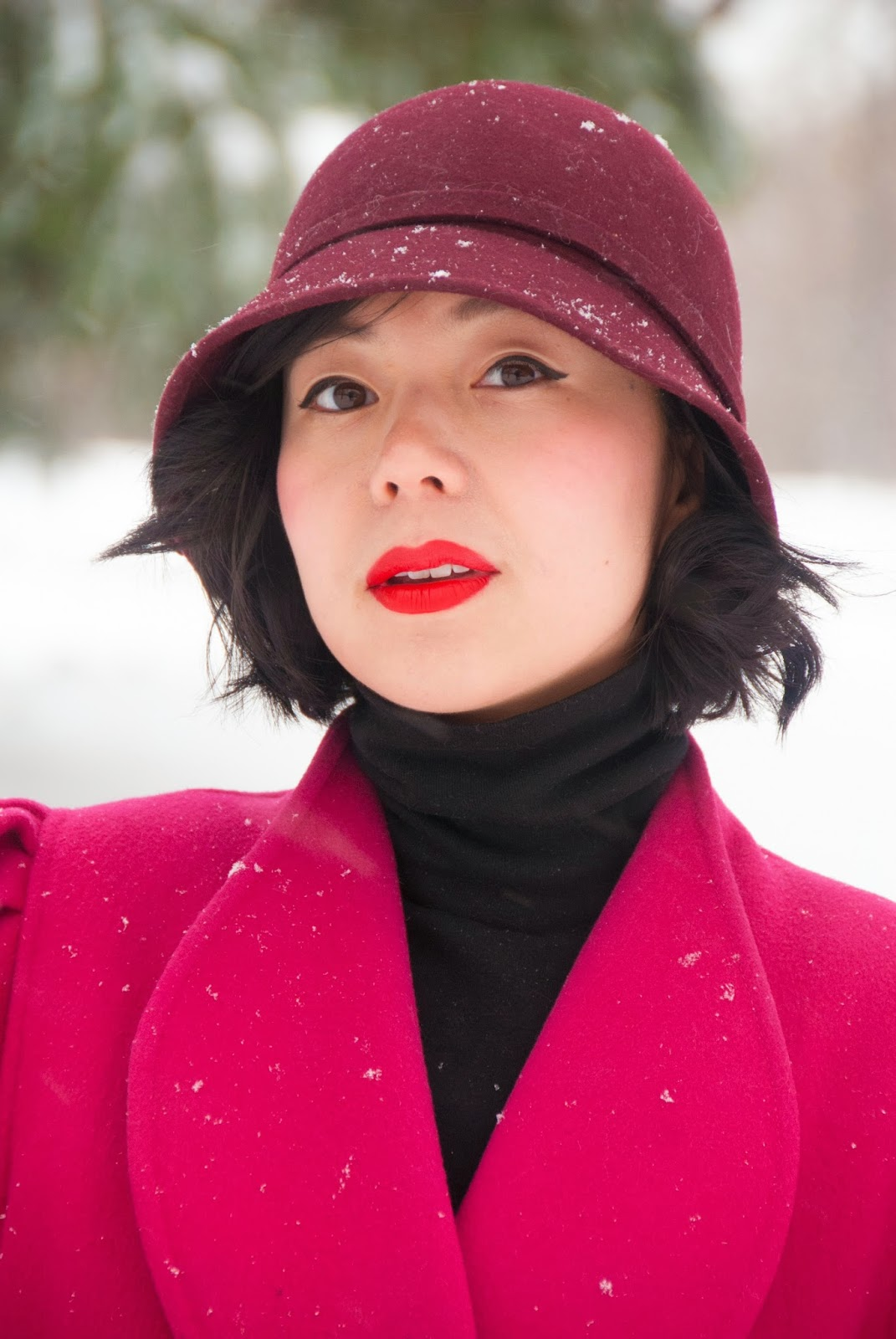 fuchsia coat red lips black turtleneck maroon cloche leather gloves boots michael kors bromley wool skirt snow winter fashion