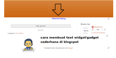 cara membuat text widgat/gadget sederhana di blogspot