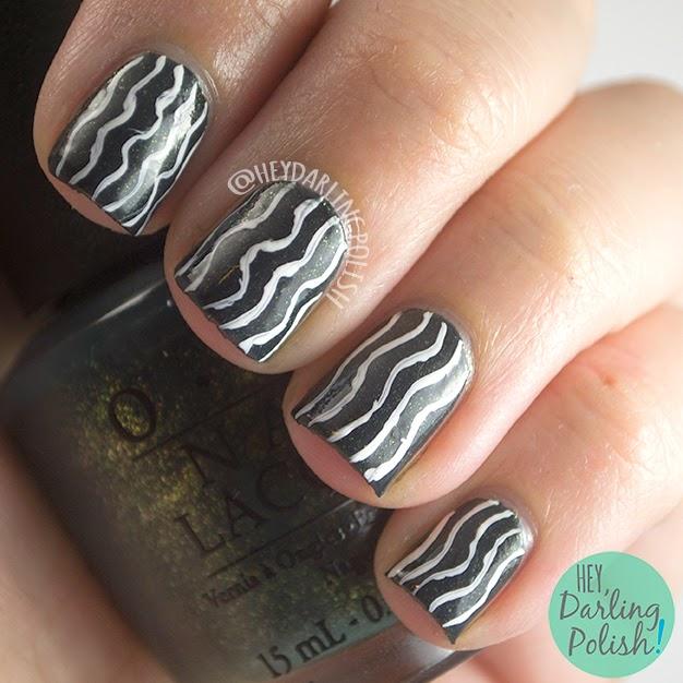 nails, nail art, nail polish, shimmer, lines, waves, hey darling polish, oh mon dieu part deux