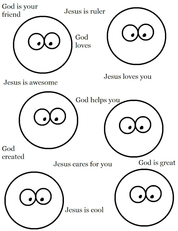Faces With Jesus Words Coloring Page title=