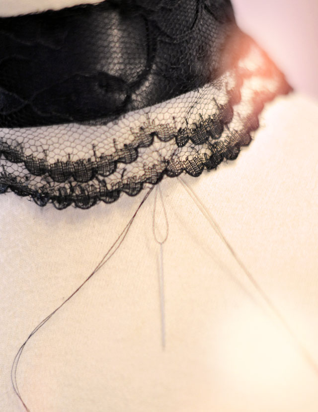 beaded lace and ribbon choker DIY inspired by Downton Abbey