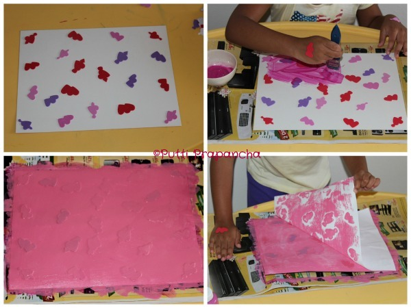 Sticker Resist Painting and Printing Kids Valentine