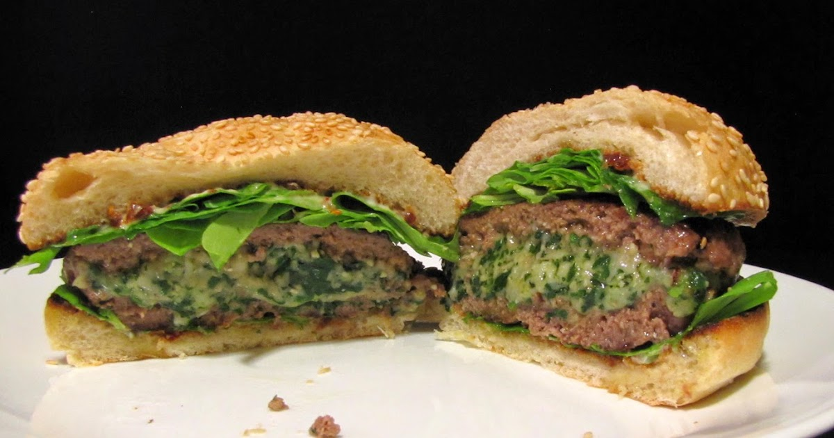 Smells Like Food in Here: Spinach-Mozzarella-Stuffed Burgers