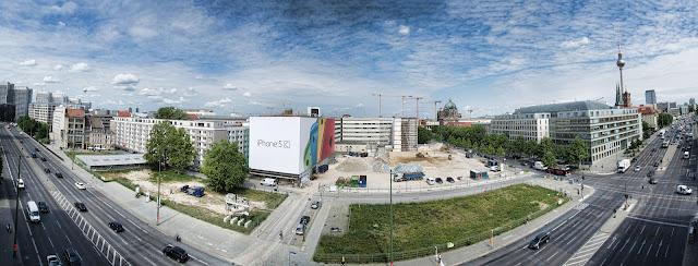 """Baustelle Panorama-Aufnahme, Ordnungsmassnahme, Teilrückbau eines Verwaltungsgebäudes ehemaliges """"DDR-Bauministerium"""", Scharrenstraße / Breite Straße, 10178 Berlin, 04.06.2014"""
