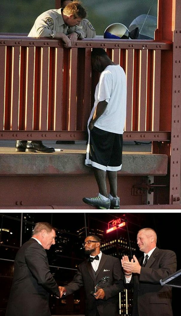 20+ Photos That Will Restore Your Faith In Humanity - Officer Talks Man Out Of Committing Suicide. Eight Years Later, The Now-Father-Of-Two Gives the Officer An Award At The American Foundation Of Suicide