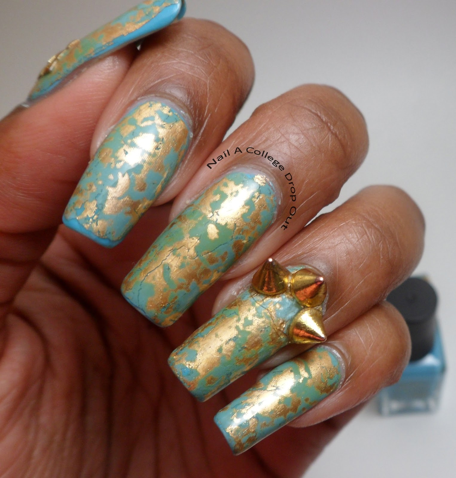 Nail a college drop out more spikes nail art foil revisited - Foil nail art ...