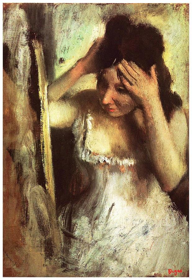 femeie aranjandu-si-parul-la-oglinda-edgar-degas 1877