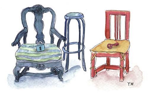 armchair, stool and chair by Yukié Matsushita