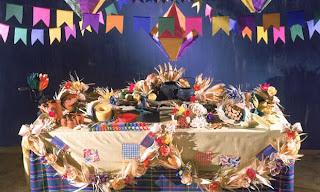 Mesa de Festa de São João Azul