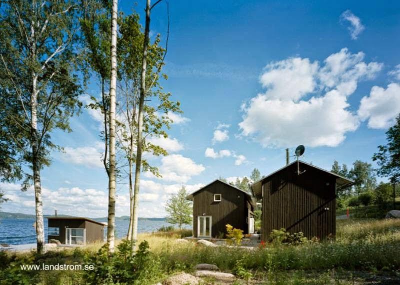 Perfiles de ambos volúmenes arquitectónicos y perspectiva del sauna