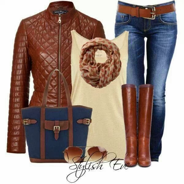 Adorable brown jacket, scarf, blouse, jeans and brown long boots for fall