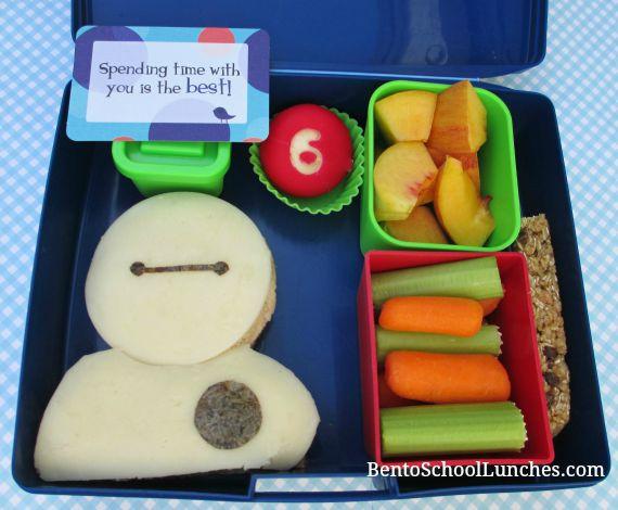Big Hero 6 Baymax school lunch, Lunchbox love note