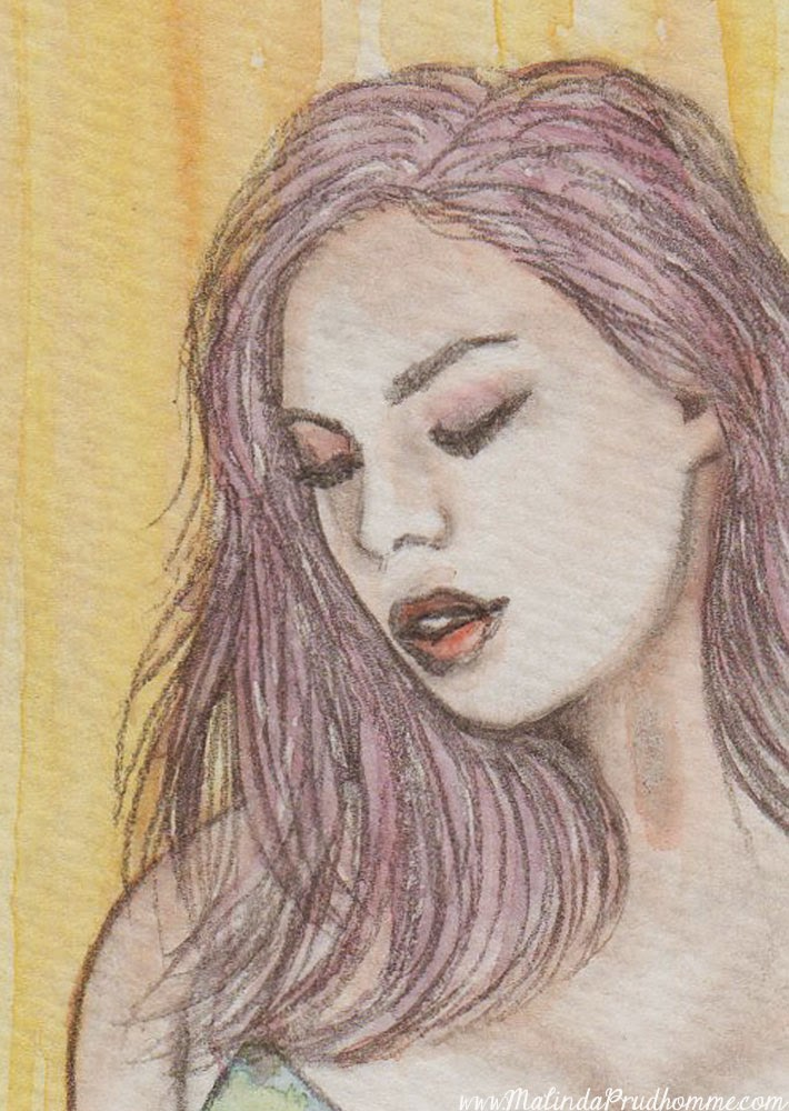 big bright beach beauty, voluptuous women, big beautiful woman, mixed media art, mixed media artist, free giveaway, watercolour painting, pencil drawing, beauty art, malinda prudhomme, toronto artist