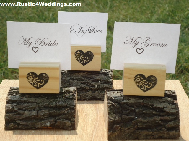 rustic 4 weddings: heart stamped wood place card holders or table