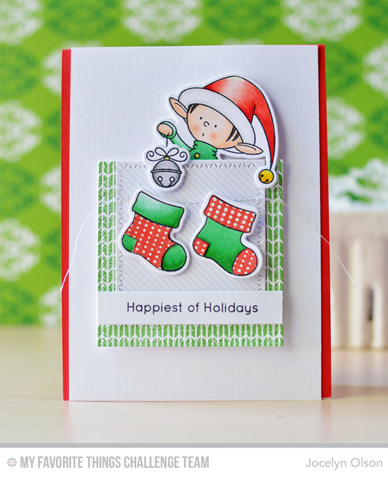 Happiest of Holidays Card by Jocelyn Olson featuring the Birdie Brown Santa's Elves stamp set, and the Sweater Stitch background stamp #mftstamps