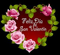 Corazón con mensaje Feliz Día de San Valentín y rosas