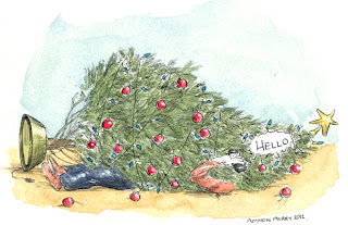 card commission illustration christmas tree fallen