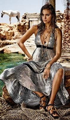 vestido longo estampa de zebra Cavalli e C&A