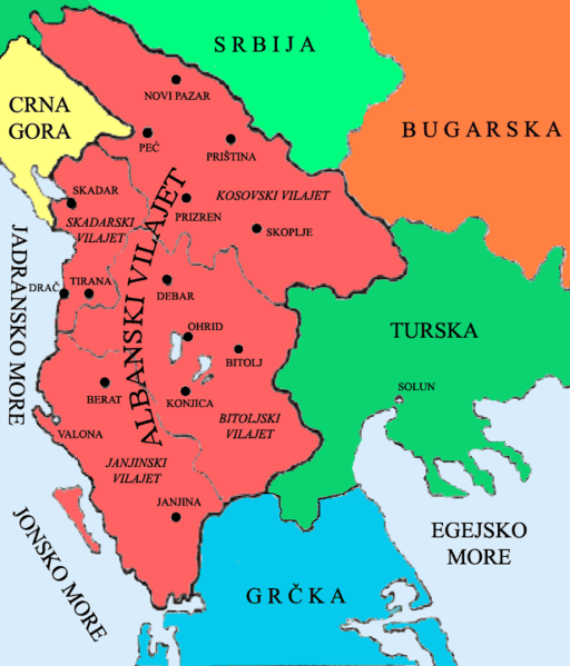 The four Ottoman vilayets clearly divided (vilayet of İşkodra, Yannina, Monastir and Kosovo as proposed by the League of Prizren for full autonomy)