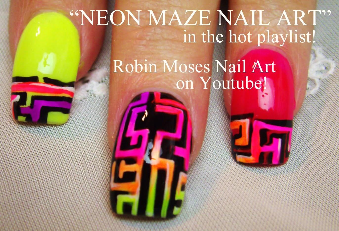 maze nails nail art nails nailart neon nails summer nails hot nails nails for summer diy how to nails robin moses nails neon designs neon - Hot Designs Nail Art Ideas
