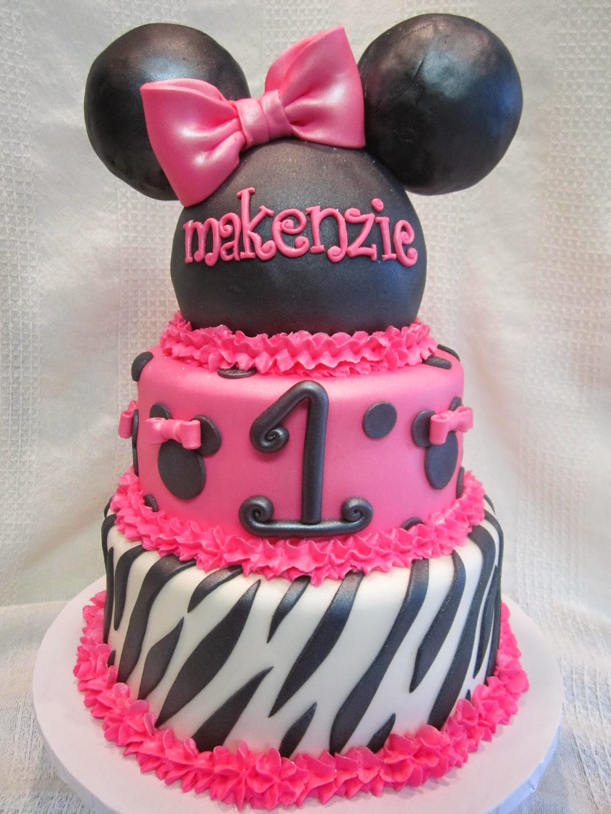 MyMoniCakes Hot Pink Zebra Minnie Mouse Ears with Smash First
