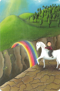 Dixit card over the rainbow