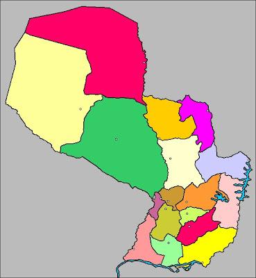 Mapa de la organización política de PARAGUAY